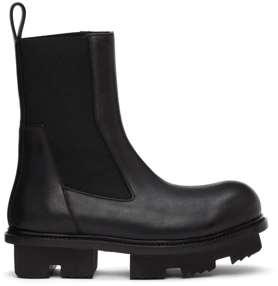 Rick Owens 黑色 Bozo Megatooth 切尔西靴