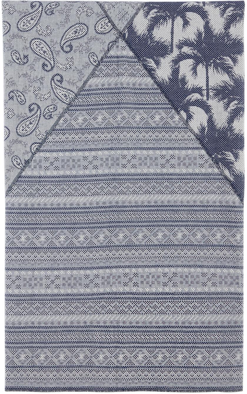 CLOT 蓝色不对称图案印花沙滩巾