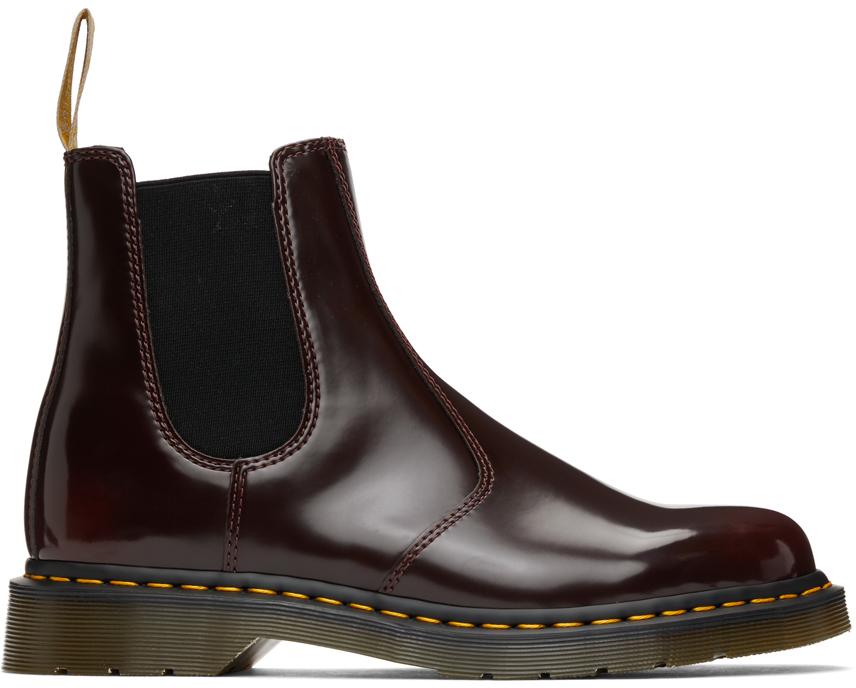 Dr. Martens 酒红色 2976 纯素皮革切尔西靴