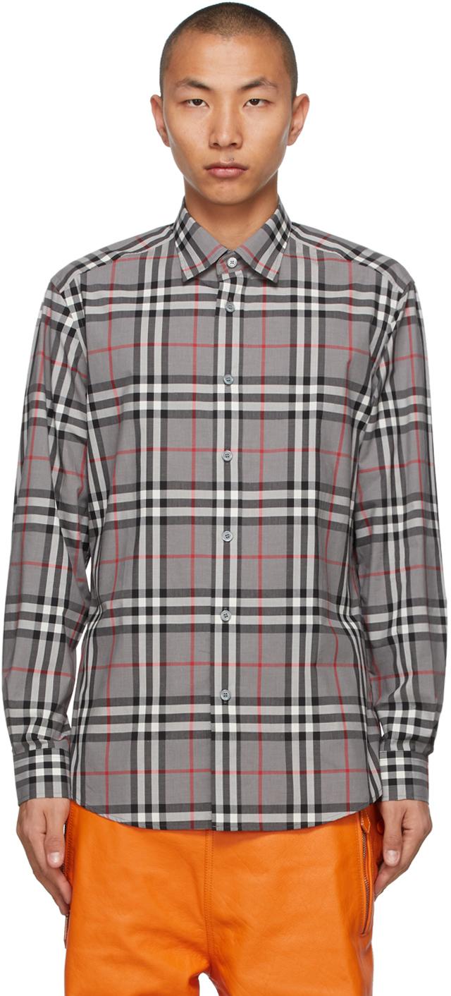 Burberry 灰色 Caxton 格纹衬衫