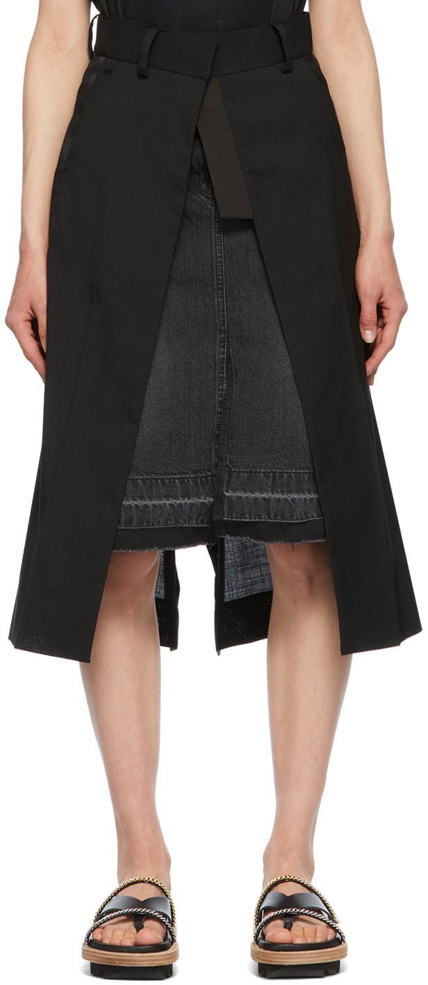 Sacai 黑色 Denim Suiting Combo 半身裙