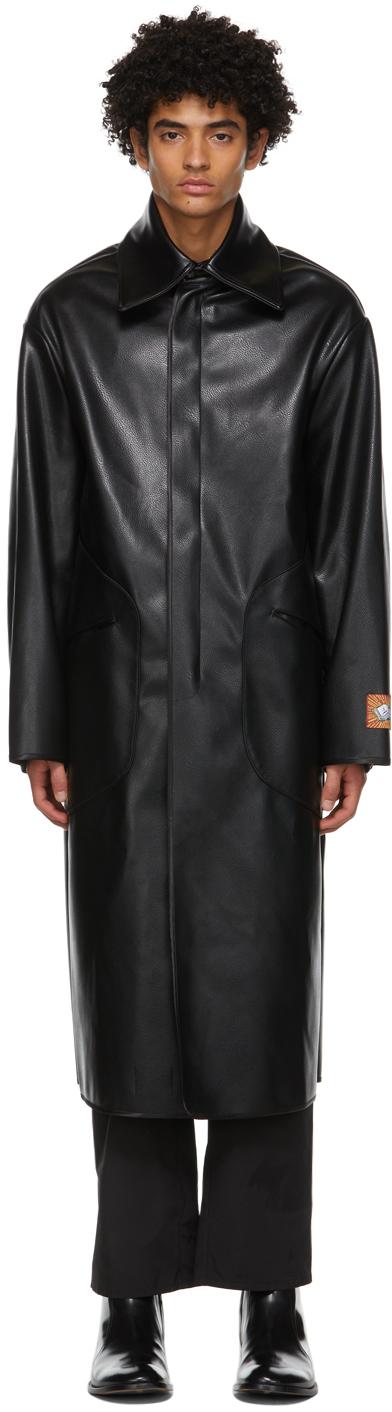 Boramy Viguier 黑色 Duster 合成皮革大衣