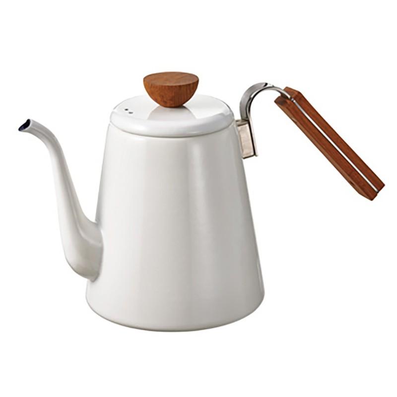 (日本限定) HARIO 1.4公升琺瑯滴落式咖啡平底壺 白色 【久大文具】