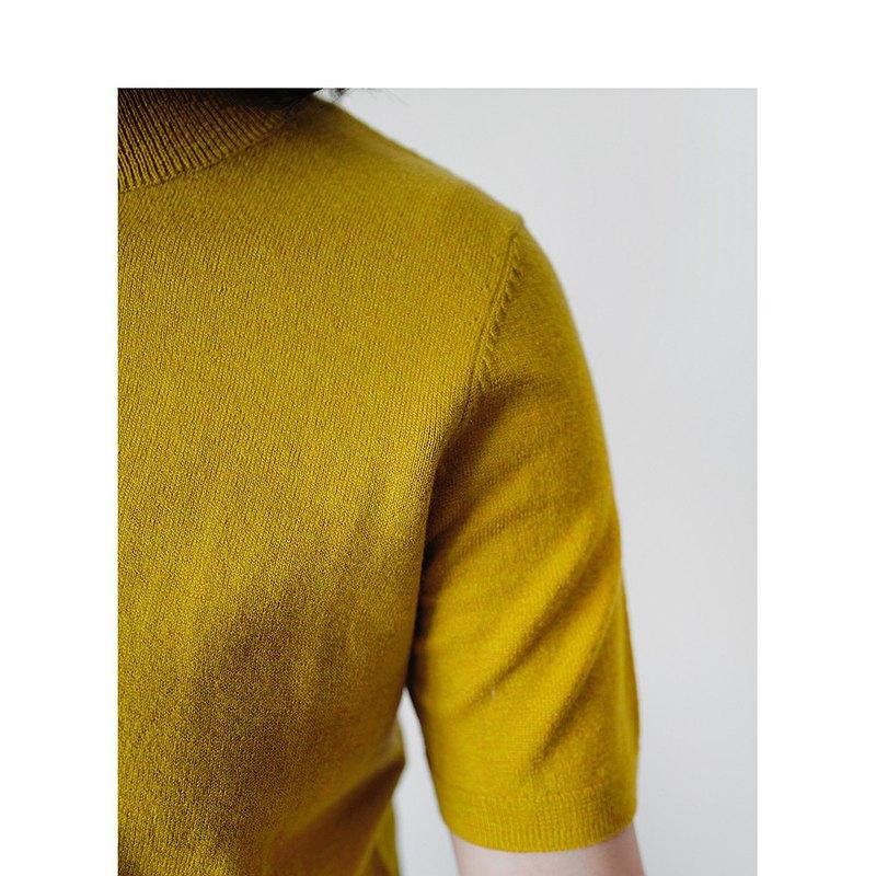 板栗研衣所 |獨立設計 香蕉黃棉/羊毛三分領短袖薄款針織衫可機洗