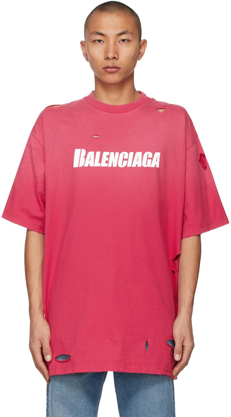 Balenciaga 红色 Caps Destroyed Flatground T 恤