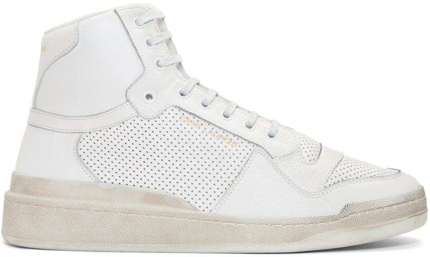 Saint Laurent 灰白色 Used-Look SL24 高帮运动鞋