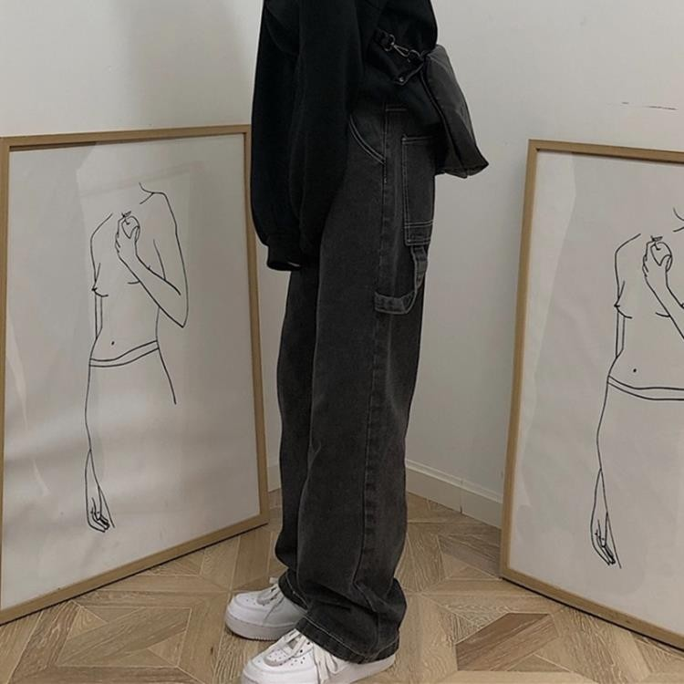 korea studios 潮流ins韓版復古明線牛仔褲休閑百搭直筒長褲男女