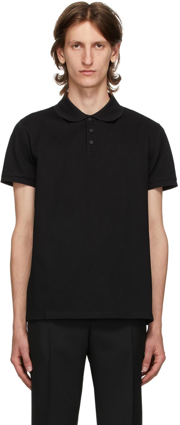 Saint Laurent 黑色徽标 Polo 衫