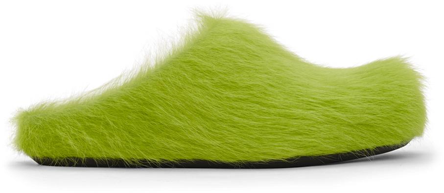 Marni 绿色 Fussbett 小牛毛乐福鞋