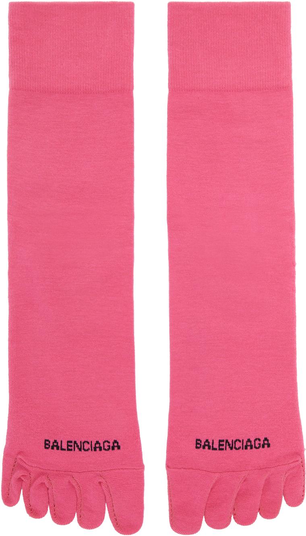 Balenciaga 粉色 Toe 徽标中筒袜