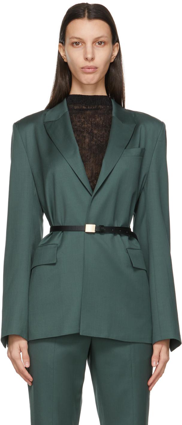 LVIR 绿色 Classic束带羊毛西装外套