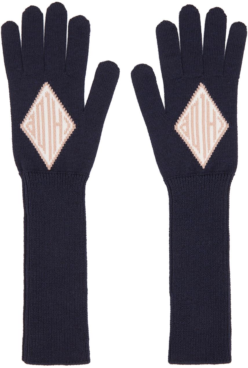 Chloé 海军蓝 Monogram 羊毛手套
