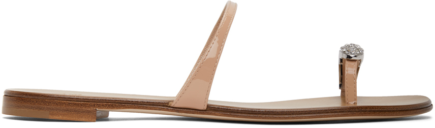 Giuseppe Zanotti 驼色 Ring 漆皮凉鞋