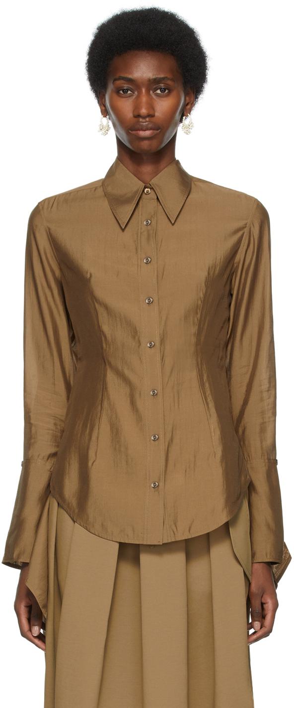 Recto 棕色 Split Cuffs 衬衫