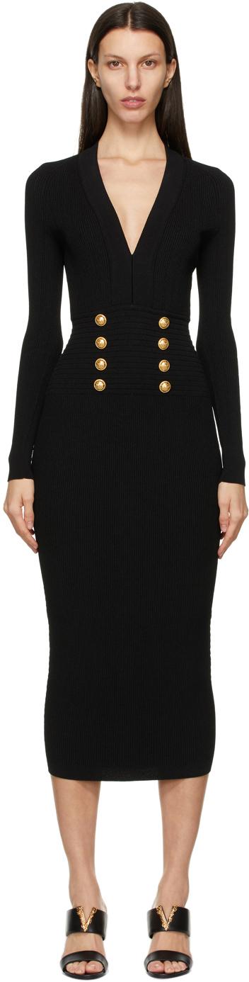 Balmain 黑色 8-Button V 领连衣裙