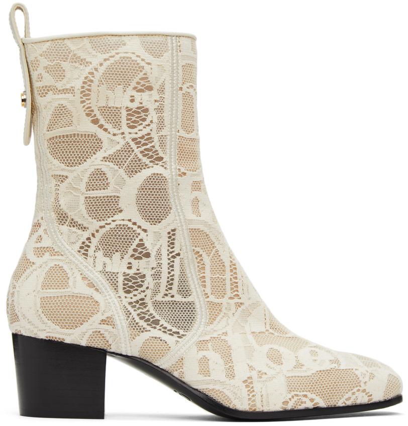 Chloé 灰白色 Goldee 蕾丝中筒靴