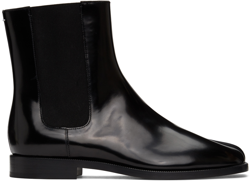 Maison Margiela 黑色 Tabi 漆皮切尔西靴