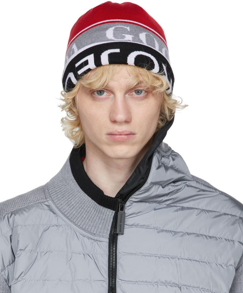 Y/Project 红色 & 黑色 Canada Goose 联名双面羊毛毛线帽
