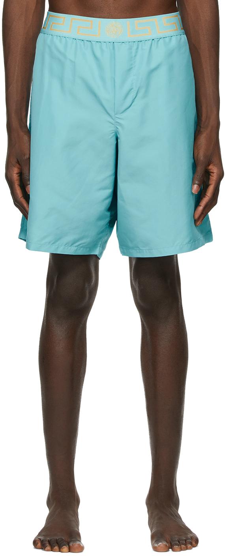 Versace Underwear 蓝色 Greca Border 泳裤