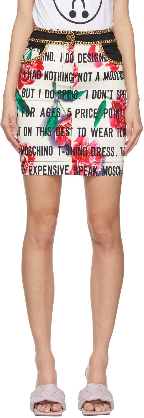 Moschino 白色 Slogan Flowers 华达呢半身裙