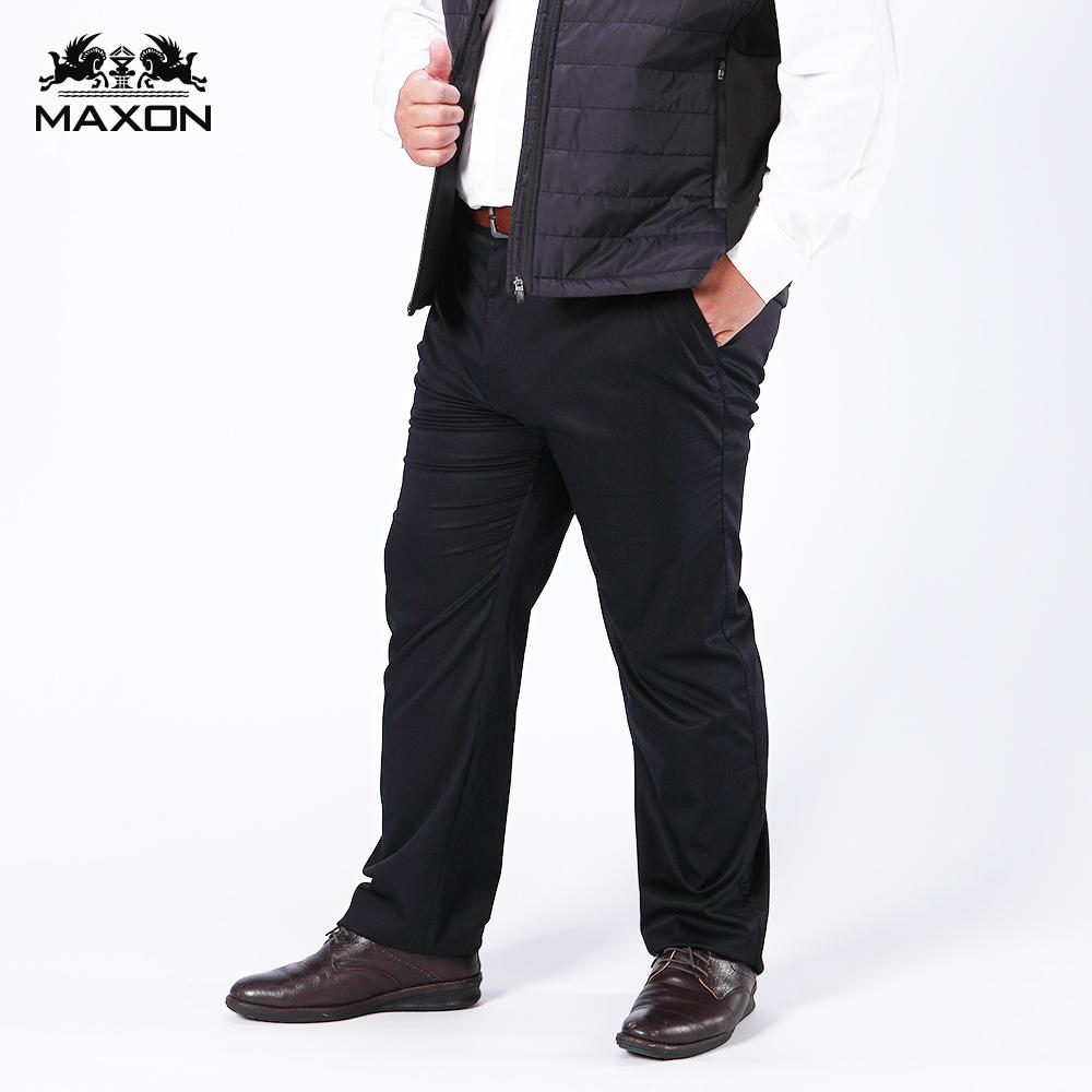 【MAXON】大尺碼黑色天絲棉標準版紳士彈性長褲38-60腰 87905-88,87906-88,87907-88