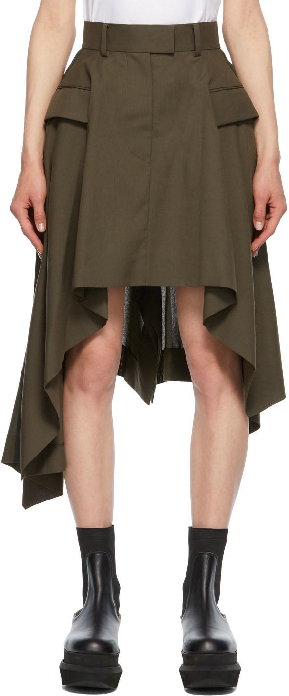 Sacai 军绿色 Suiting 不规则垂坠半身裙