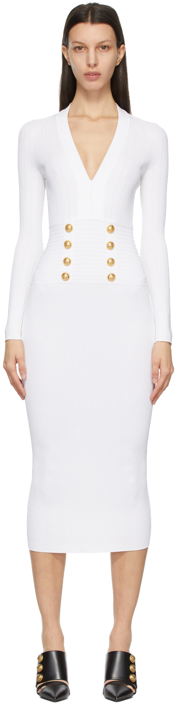 Balmain 白色 Double-Buttoned 针织连衣裙