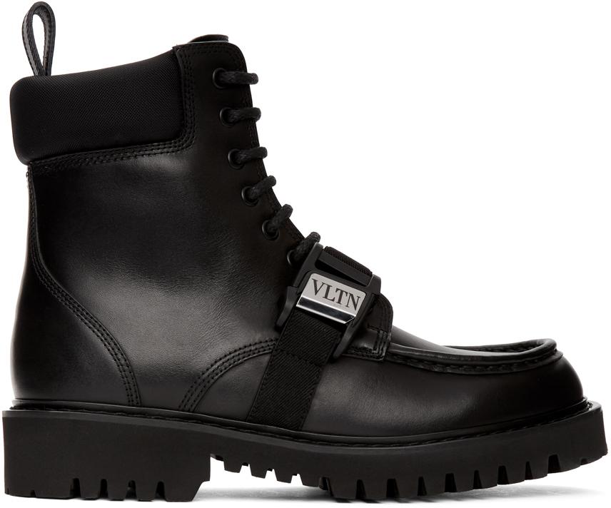 """Valentino Garavani 黑色 Valentino Garavani 系列""""VLTN""""军风踝靴"""