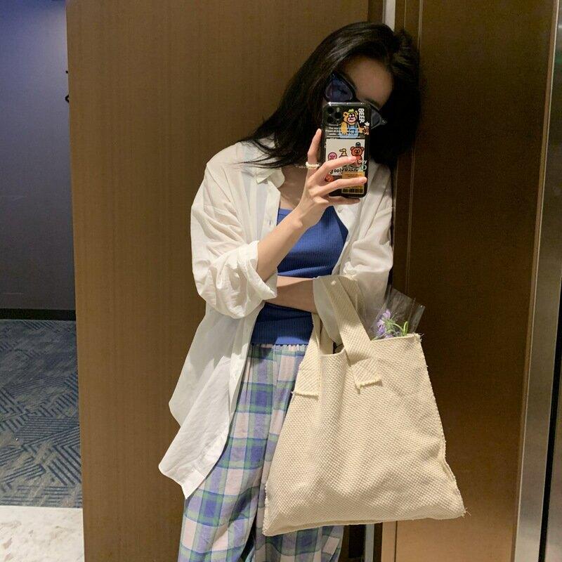 2021夏季新款韓版簡約慵懶風翻領寬鬆襯衫微透薄防曬上衣女