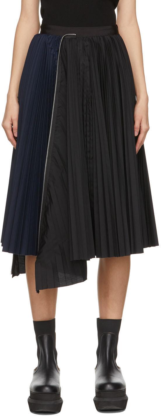 Sacai 黑色 & 海军蓝褶裥拉链半身裙