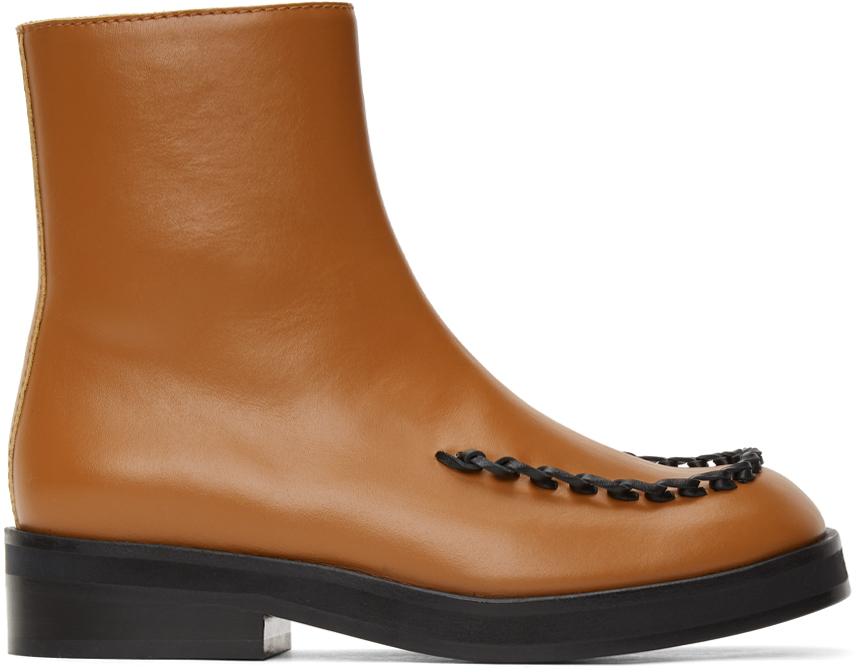JW Anderson 棕色 Stitch 切尔西靴