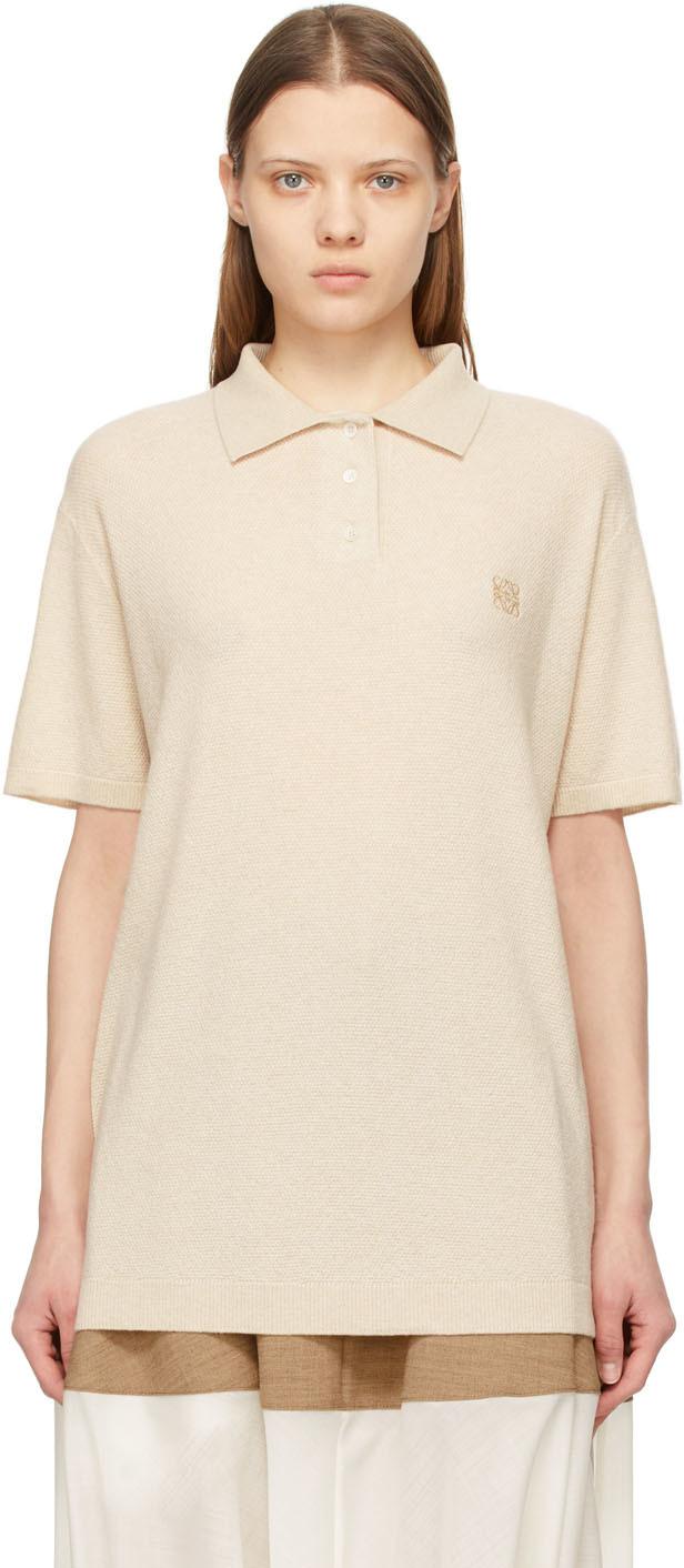 Loewe 米色 Anagram 羊绒 Polo 衫