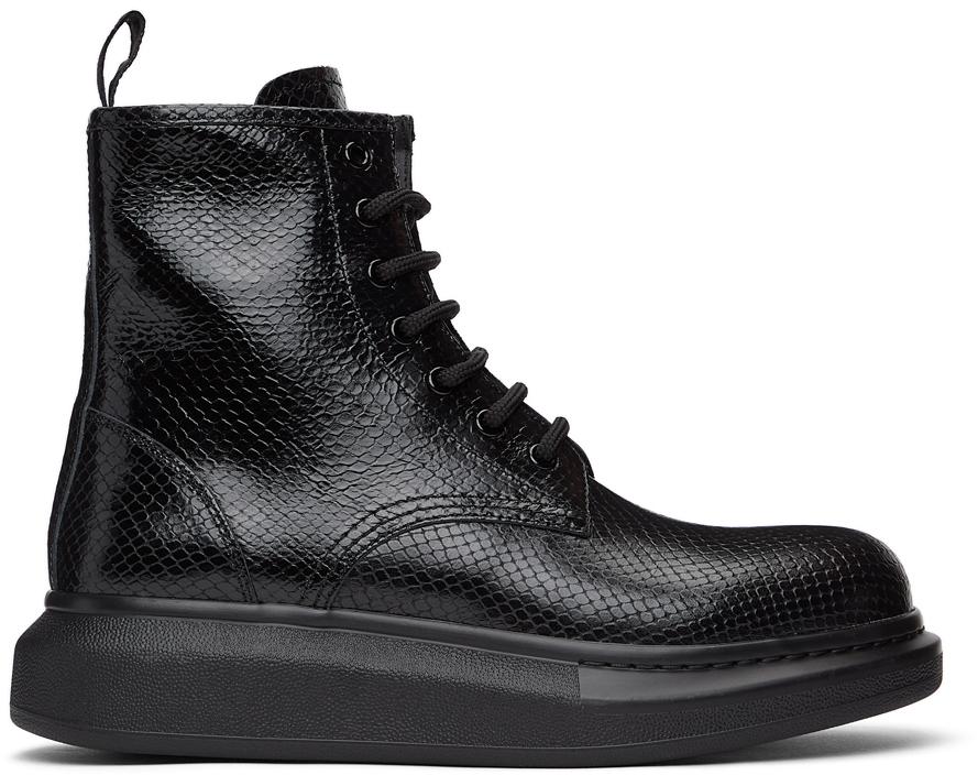 Alexander McQueen 黑色鳄鱼纹踝靴