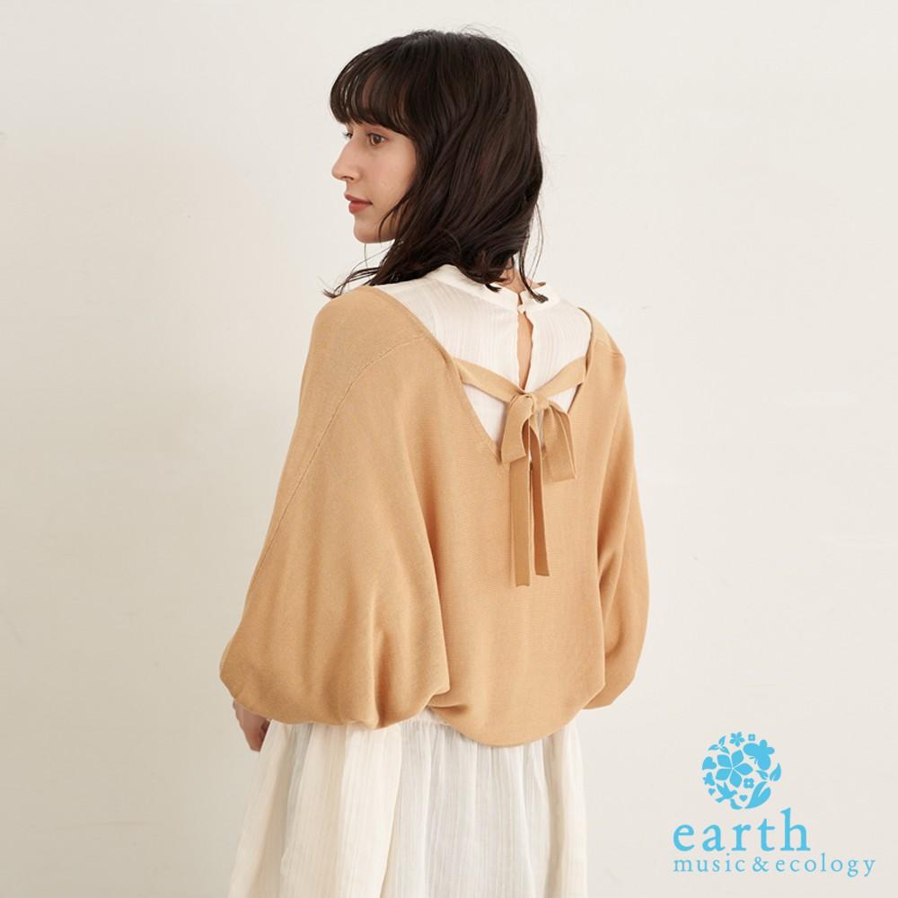 earth music&ecology 後綁結蓬袖短版開襟罩衫(1B12L2D0400)