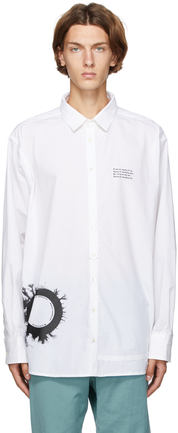 Isabel Benenato 白色大廓形印花条纹衬衫