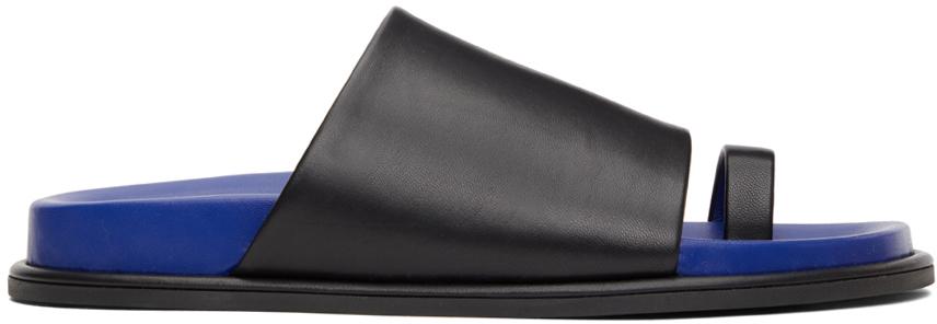 Marina Moscone 黑色 & 蓝色 Flat Toe 束带凉鞋