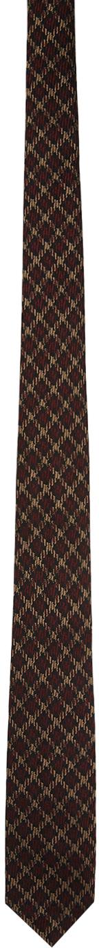 Dries Van Noten 棕色格纹真丝领带
