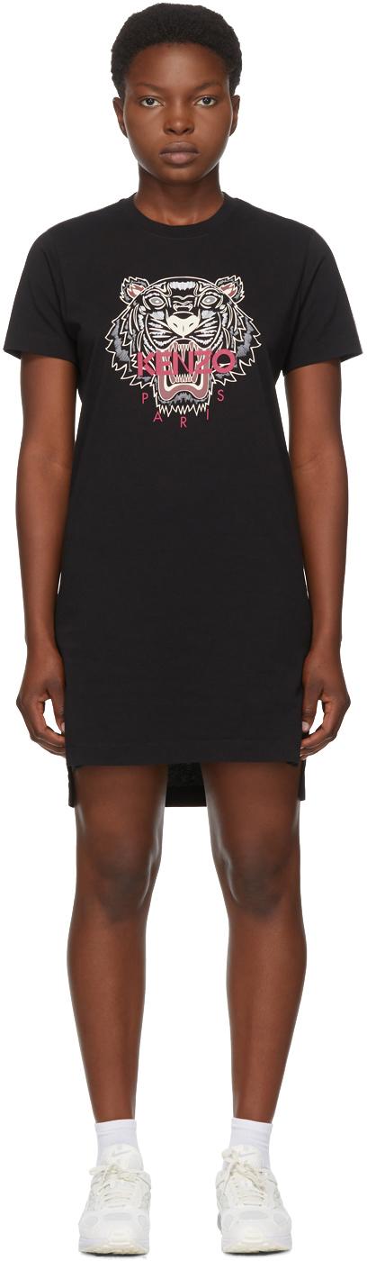 Kenzo 黑色 Tiger 短款 T 恤连衣裙
