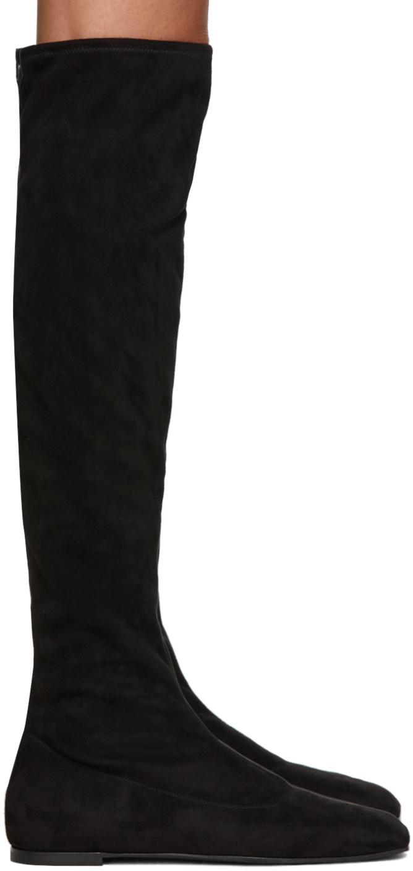 Giuseppe Zanotti 黑色弹性绒面革高筒靴
