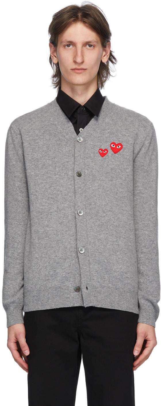 Comme des Garçons Play 灰色 Double Heart 羊毛开衫