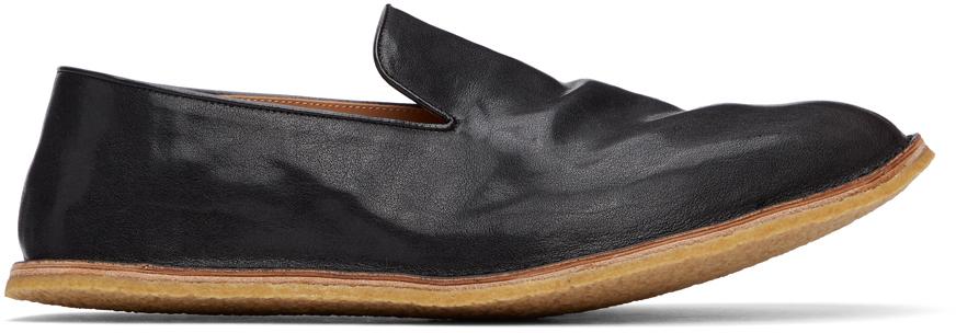 Dries Van Noten 黑色褶皱皮革乐福鞋