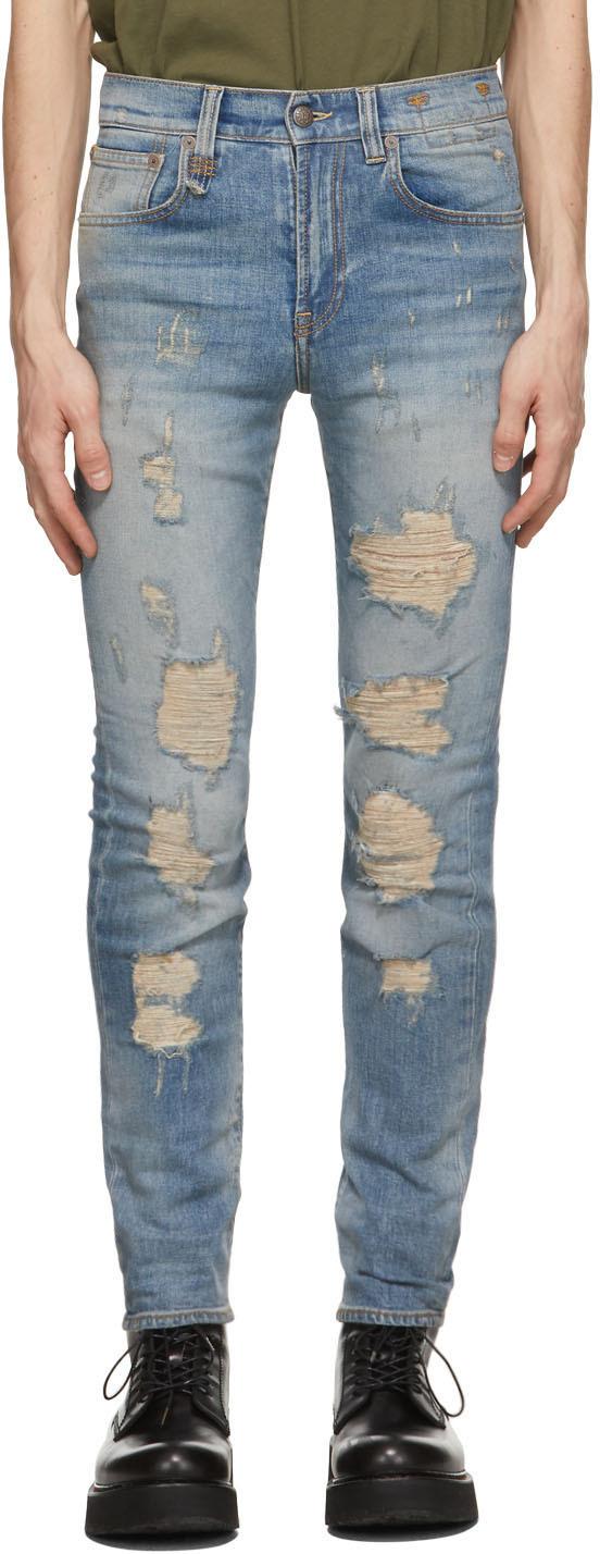 R13 蓝色 Skate 做旧牛仔裤