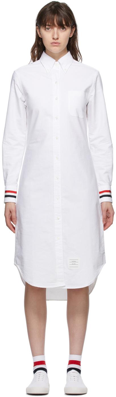 Thom Browne SSENSE 独家线上发售白色 Classic RWB Stripe 衬衫连衣裙