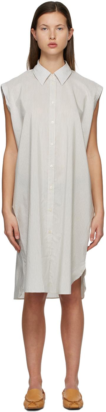 Acne Studios 白色 & 驼色条纹衬衫连衣裙