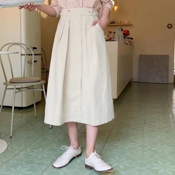 時尚前襟內釦鬆緊高腰A字裙中長裙【88-18-8110333-21】ibella 艾貝拉