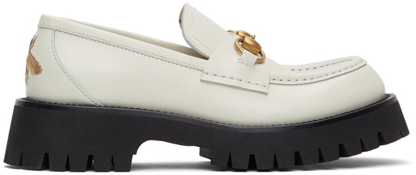 Gucci 白色马衔扣沟纹底乐福鞋