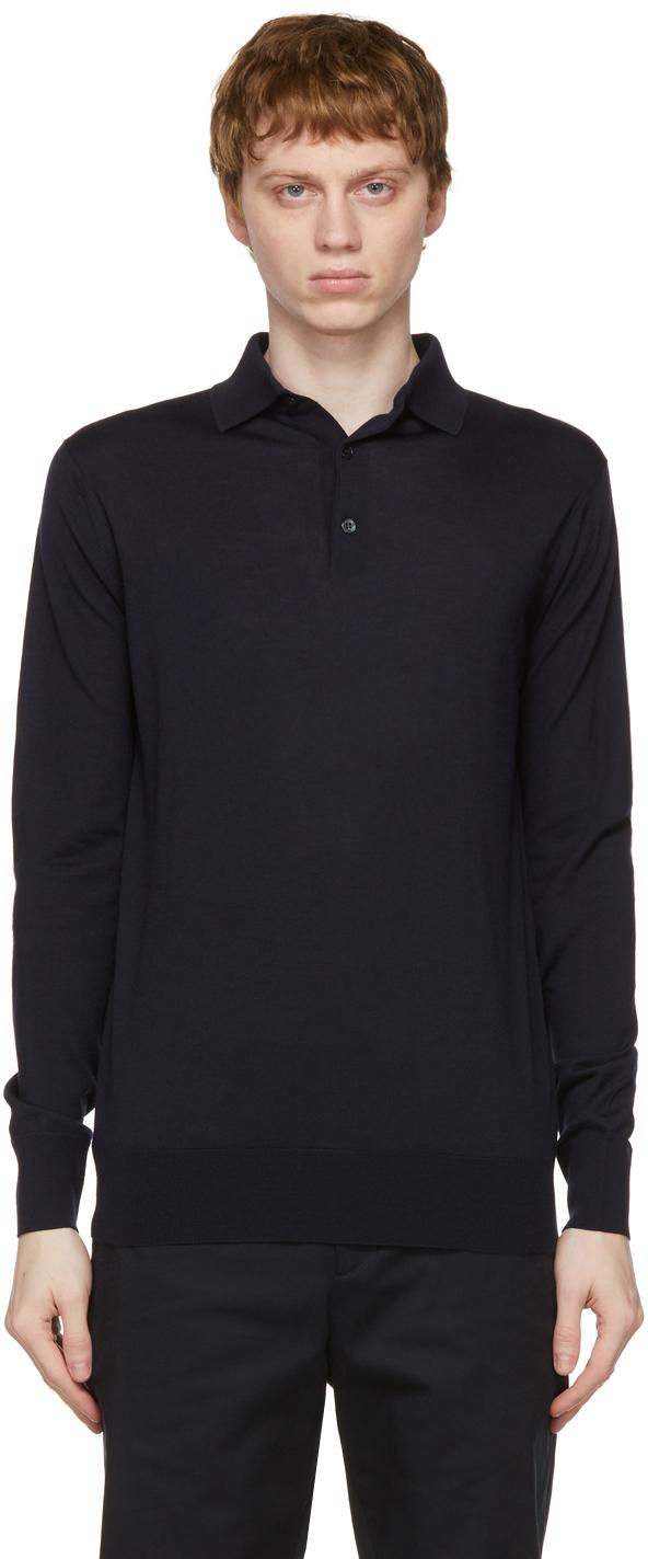 Loro Piana 海军蓝羊绒长袖 Polo 衫