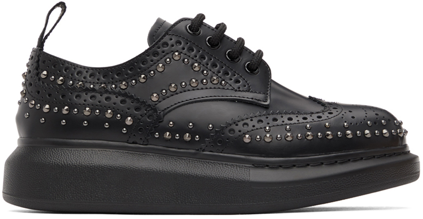 Alexander McQueen 黑色铆钉皮革布洛克鞋