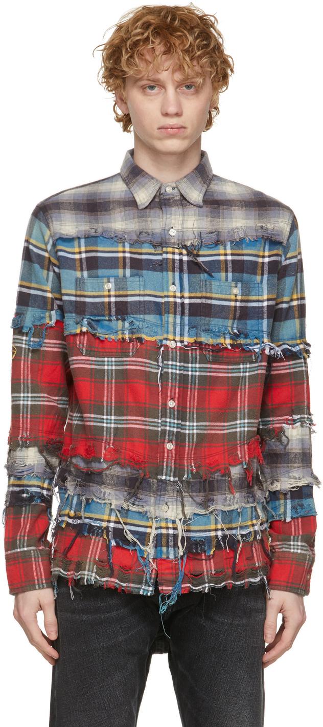 R13 多色 Pieced 格纹衬衫