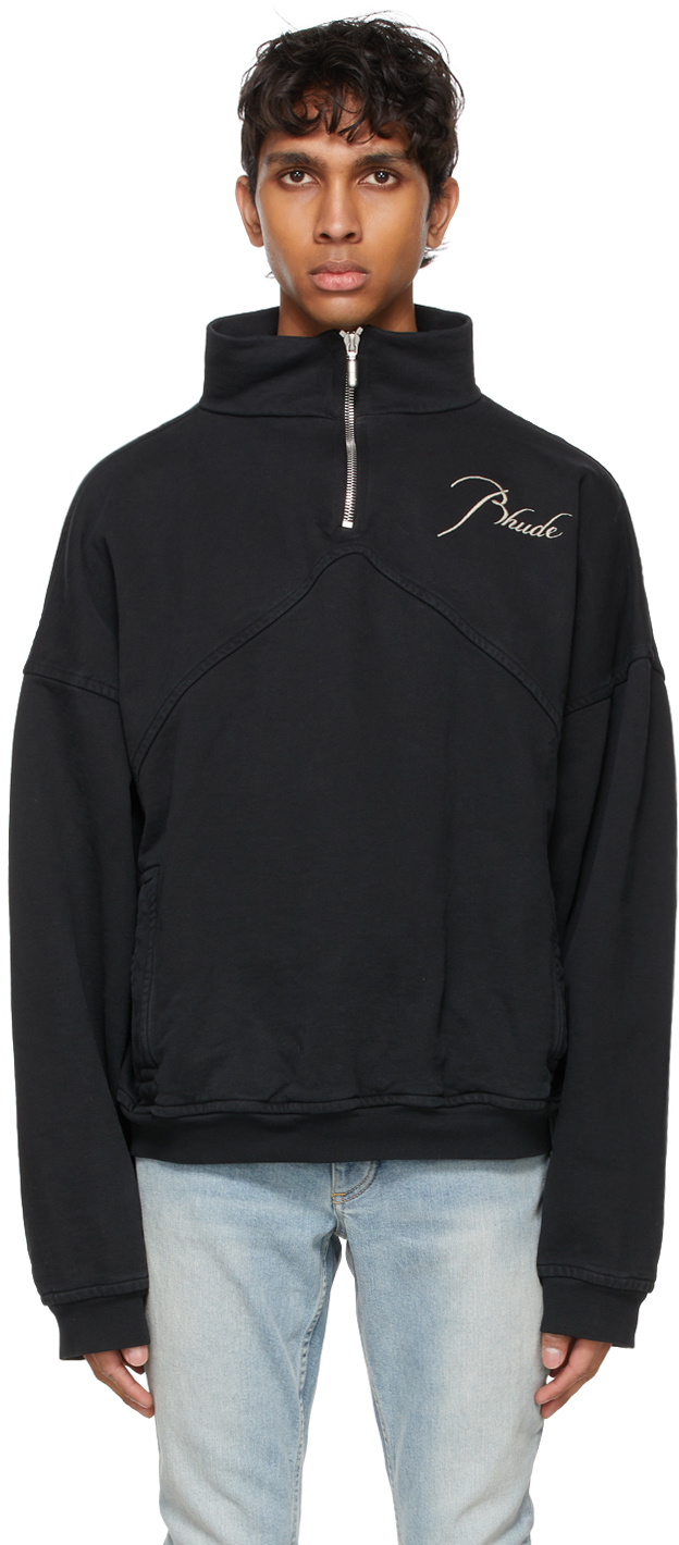 Rhude SSENSE 独家发售黑色半拉链套头衫